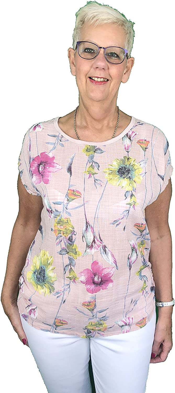 Pamper Yourself Now ltd Pink Flowery 100% Cotton T Shirt. one Size Recommended Fits Size 10-16 Made in Italy (AA59)