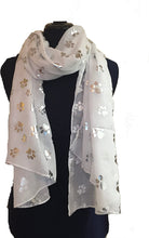 Load image into Gallery viewer, Pamper Yourself Now White with Silver Dog paw Print Long Scarf.