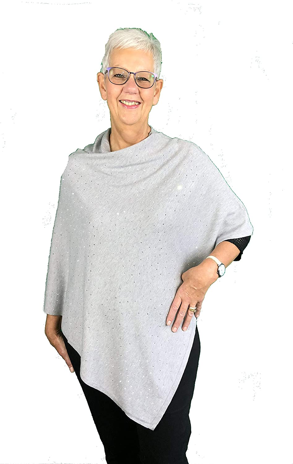 Pamper Yourself Now Grey with Diamante Sparkle Poncho