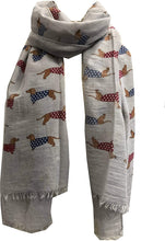 Load image into Gallery viewer, Pamper Yourself Now Grey Sausage Dog with Spotty Coat Long Scarf with Frayed Edge