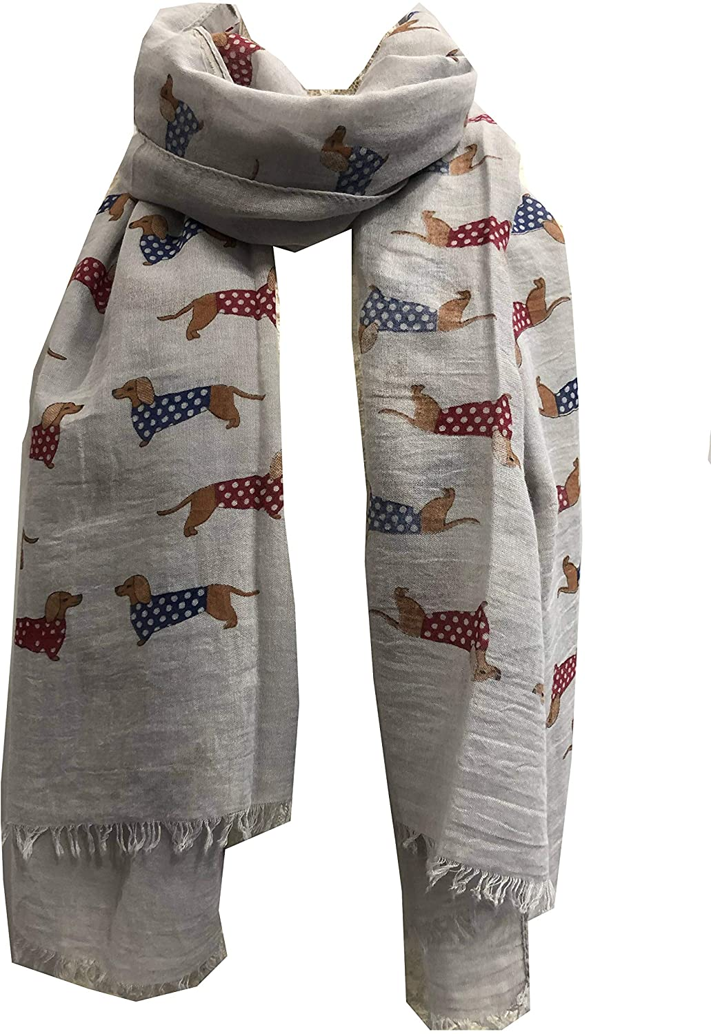 Pamper Yourself Now Grey Sausage Dog with Spotty Coat Long Scarf with Frayed Edge