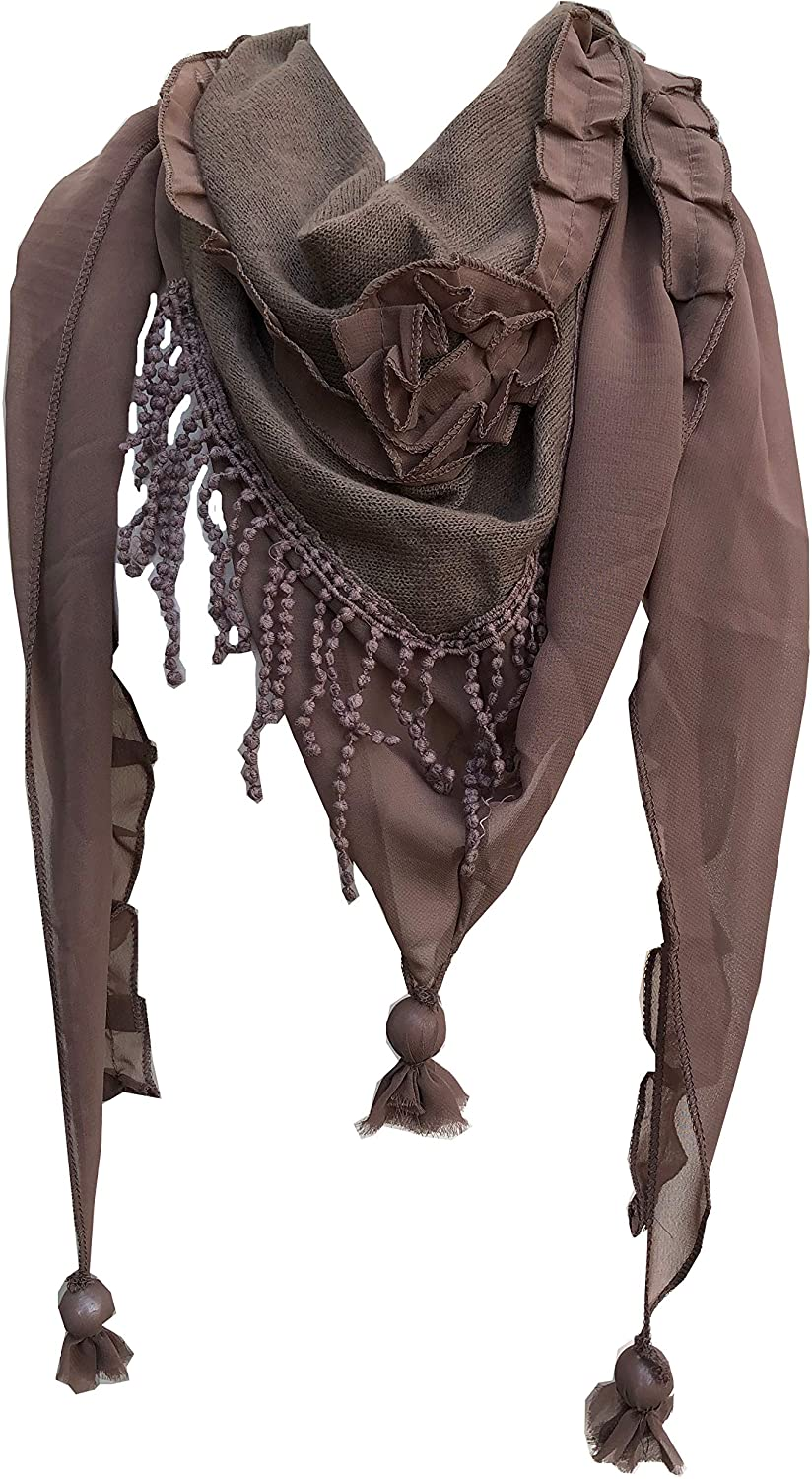 Pamper Yourself Now Brown with Small Rose and Chiffon lace Trim Triangle Scarf