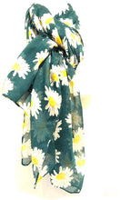 Load image into Gallery viewer, Pamper Yourself Now Green Daisy Scarf Lovely Soft Scarf