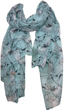 Load image into Gallery viewer, Pamper Yourself Now Aqua Green Sketched Mixed Dog Design Scarf Pug, Sausage Dog, Labrador and whippit