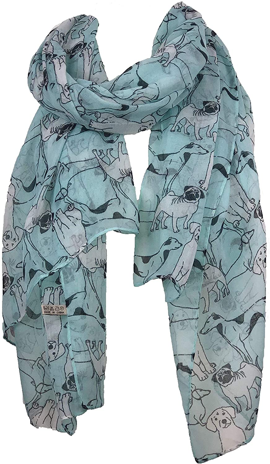 Pamper Yourself Now Aqua Green Sketched Mixed Dog Design Scarf Pug, Sausage Dog, Labrador and whippit