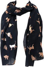 Load image into Gallery viewer, Navy with gold foiled cats long soft scarf