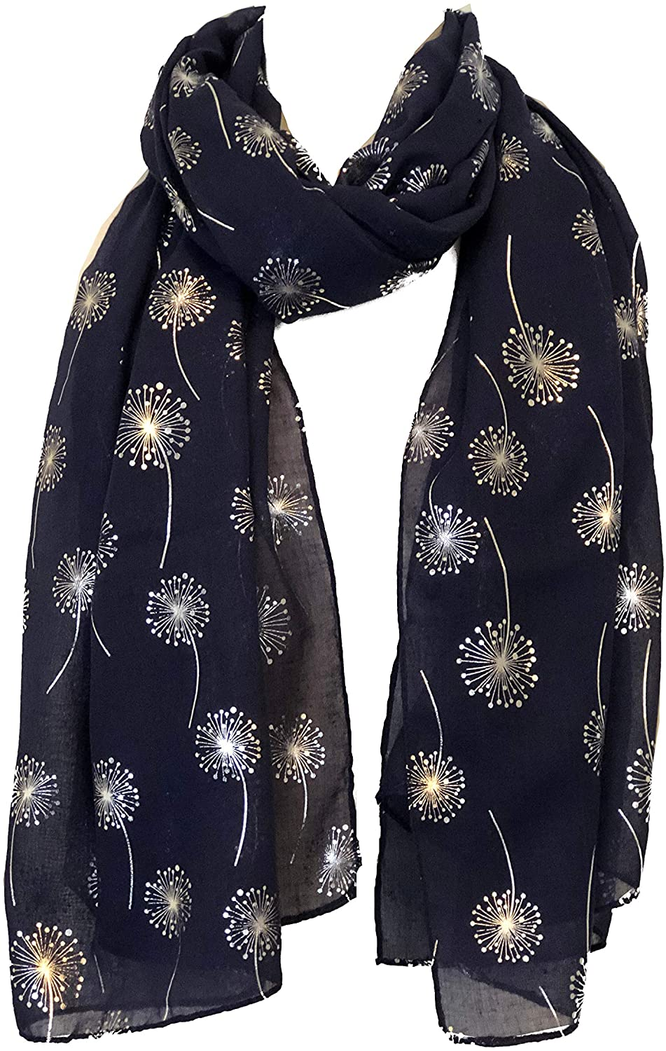 Pamper Yourself Now Navy Blue with Silver Dandelion Design Long Scarf