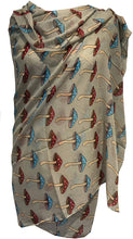 Load image into Gallery viewer, Pamper Yourself Now Green with Colourful Mushroom Design Scarf/wrap Great Present/Gift.