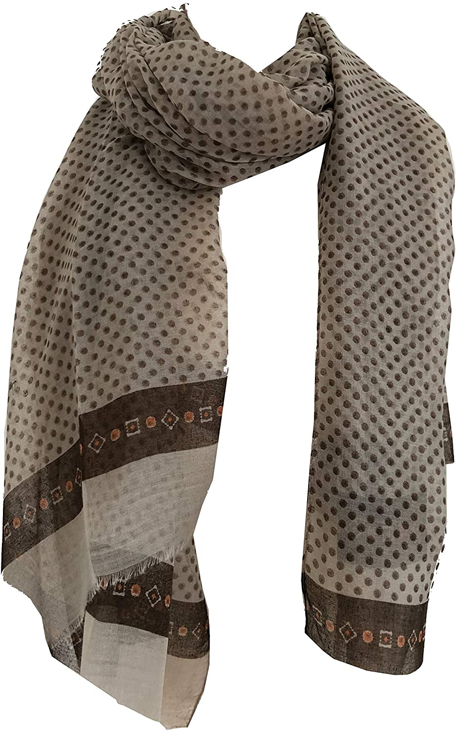 Pamper Yourself Now Light Brown Scarf with Dark Brown Spotty Scarves with Borders, Long, Soft, Pretty Scarf/Wrap