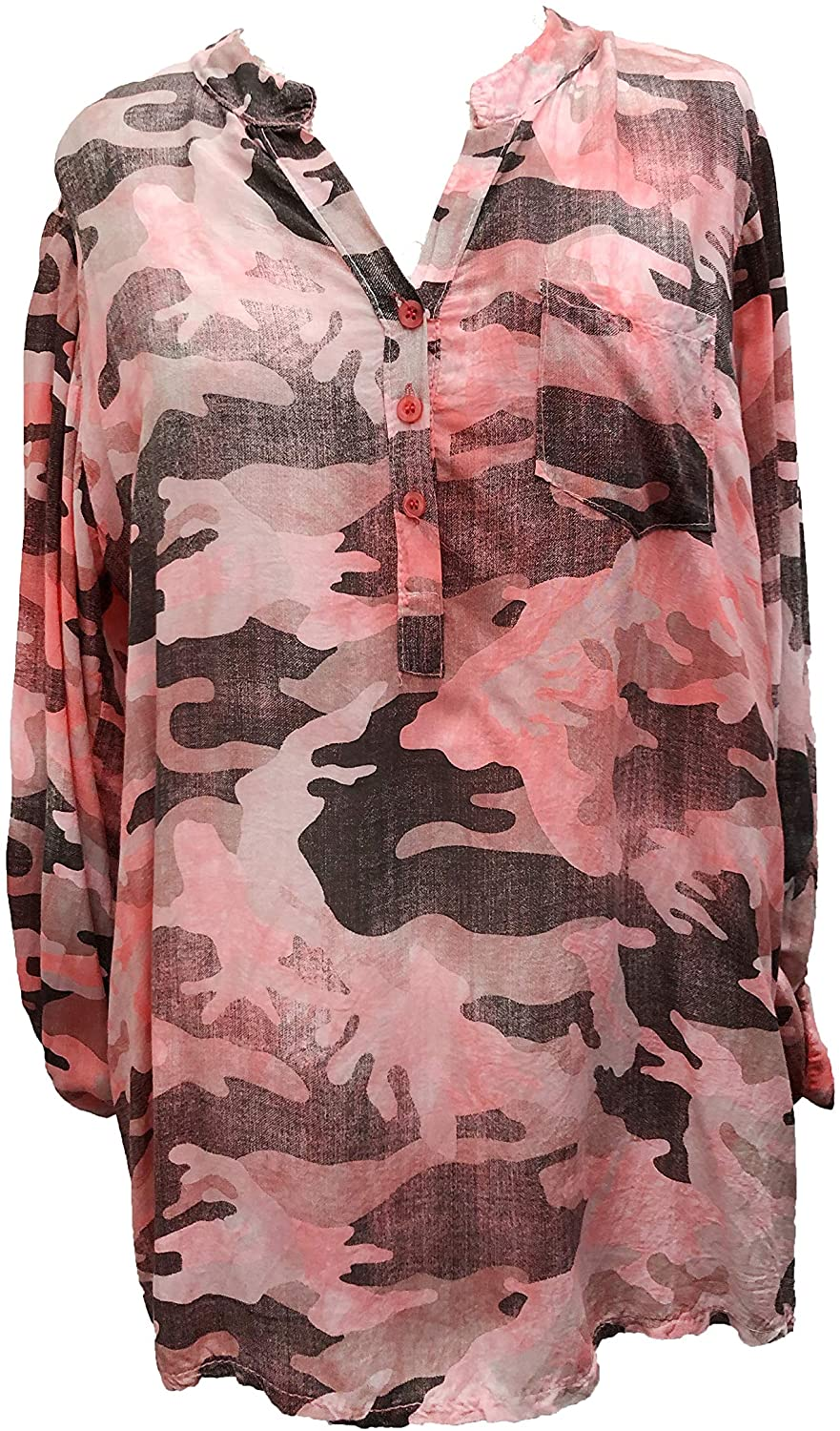 Pamper Yourself Now ltd Beautiful Bright Pink Camouflage Collarless Ladies Shirt with 3 Quarter Length Sleeve Made in Italy (AA88)
