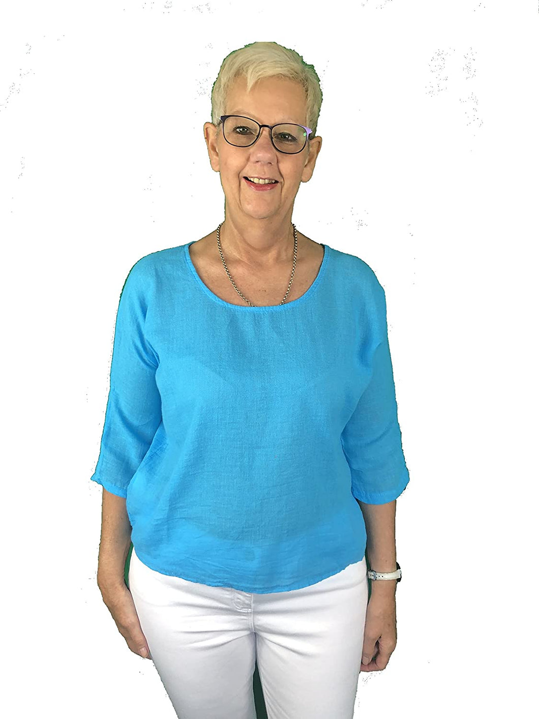 Pamper Yourself Now ltd Plain Turquoise Short T Shirt 70% Linen + 30% Cotton. One Size Recommended Fits Size 10-16 Made in Italy (AA63)