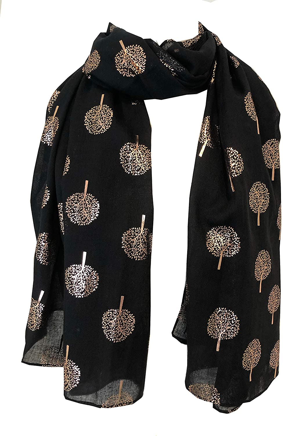 Pamper Yourself Now Black with Gold Foiled Mulberry Tree Design Ladies Scarf/wrap. Great Present for Mum, Sister, Girlfriend or Wife.