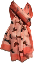 Load image into Gallery viewer, Dachshund dog with bow ladies long scarf/wrap with frayed edge. Great for presents/gifts