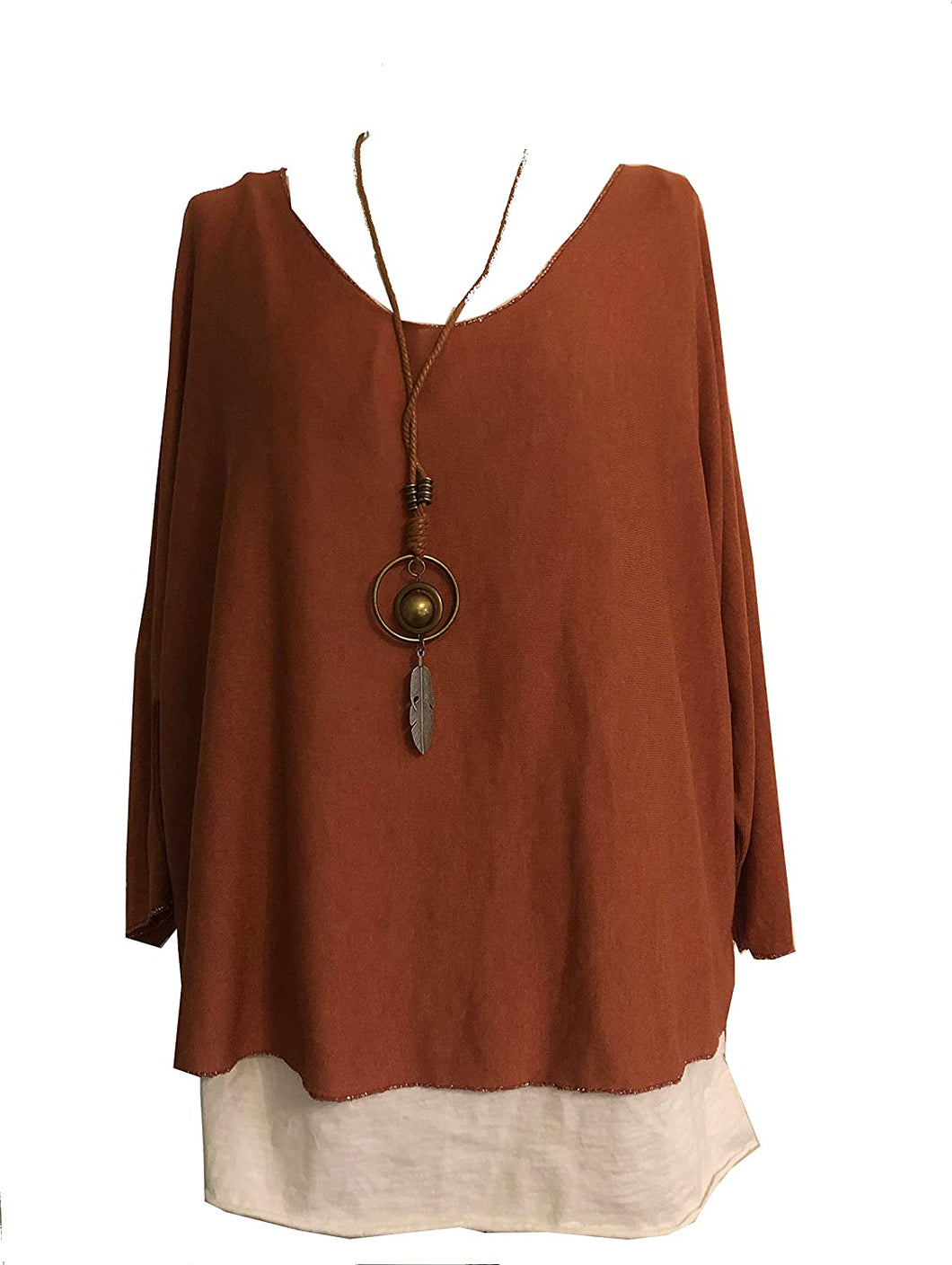 Ladies 2 Piece Layer Plain Top with Necklace with 3/4 Sleeves (A91) - Made in Italy (Rust)