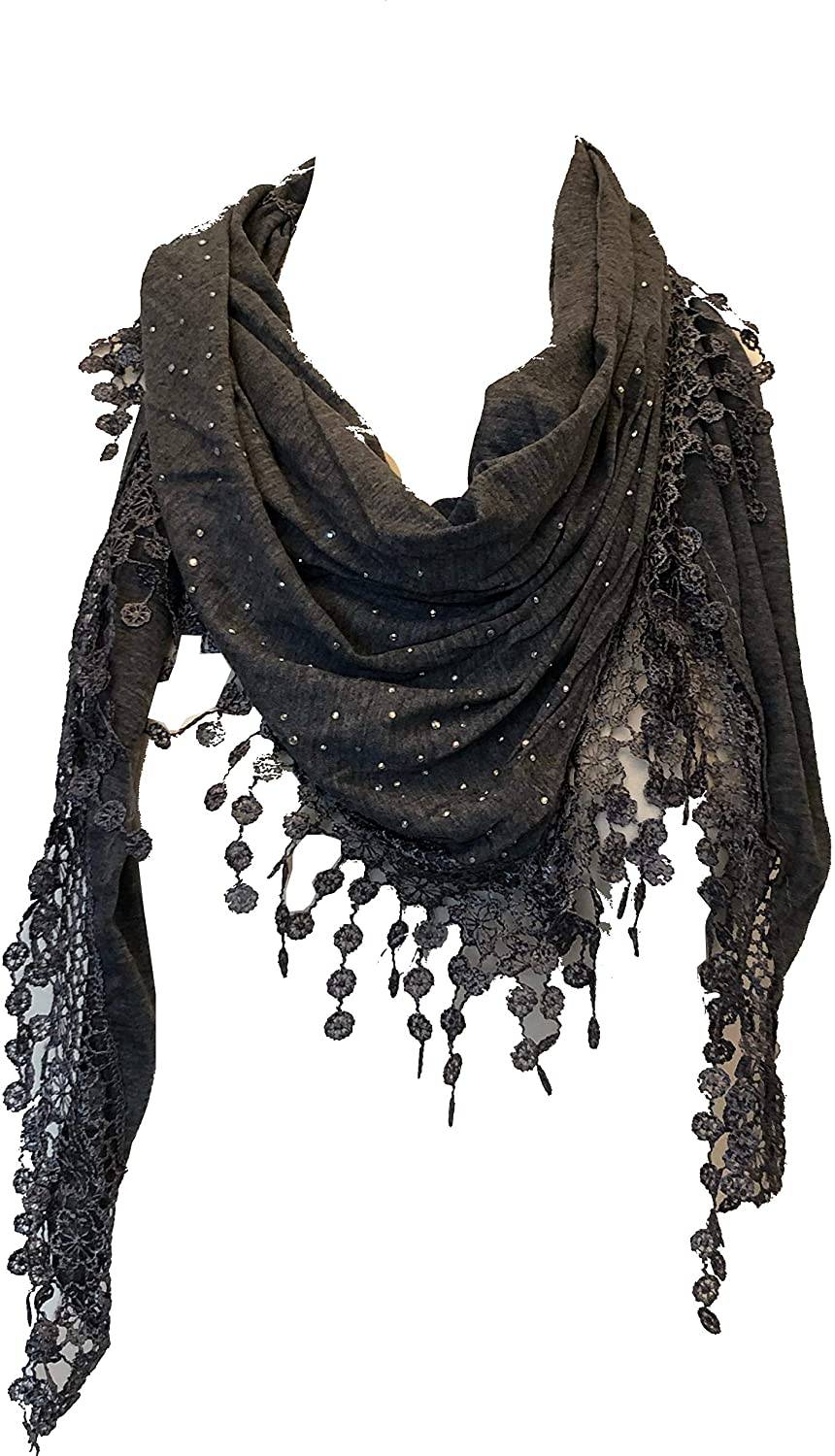 Pamper Yourself Now Light Grey Jersey with Sparkle and lace Trimmed Triangle Scarf Fashion Fab Gift