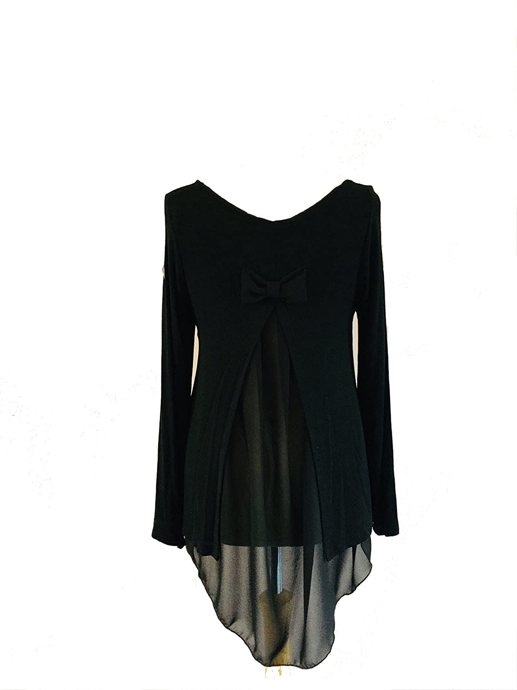 Pamper Yourself Now ltd Black Long Sleeves Split Back Bow Chiffon top. Made in Italy (AA41)