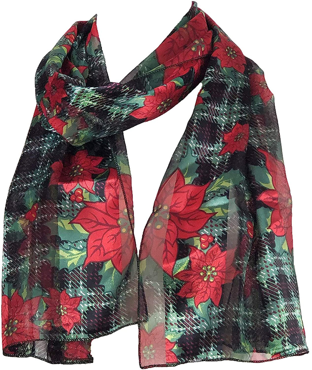 Pamper Yourself Now Black with red and Green Poinsettia Flower Design Scarf Thin Pretty Christmas Scarf