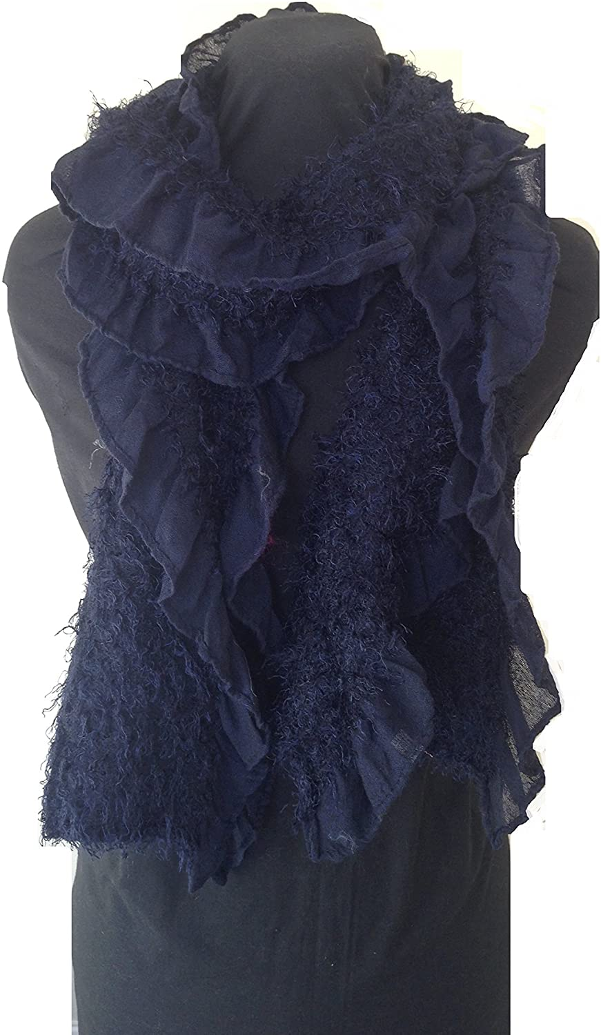 Pamper Yourself Now Dark Blue Warm Fluffy Winter Ladies Scarf
