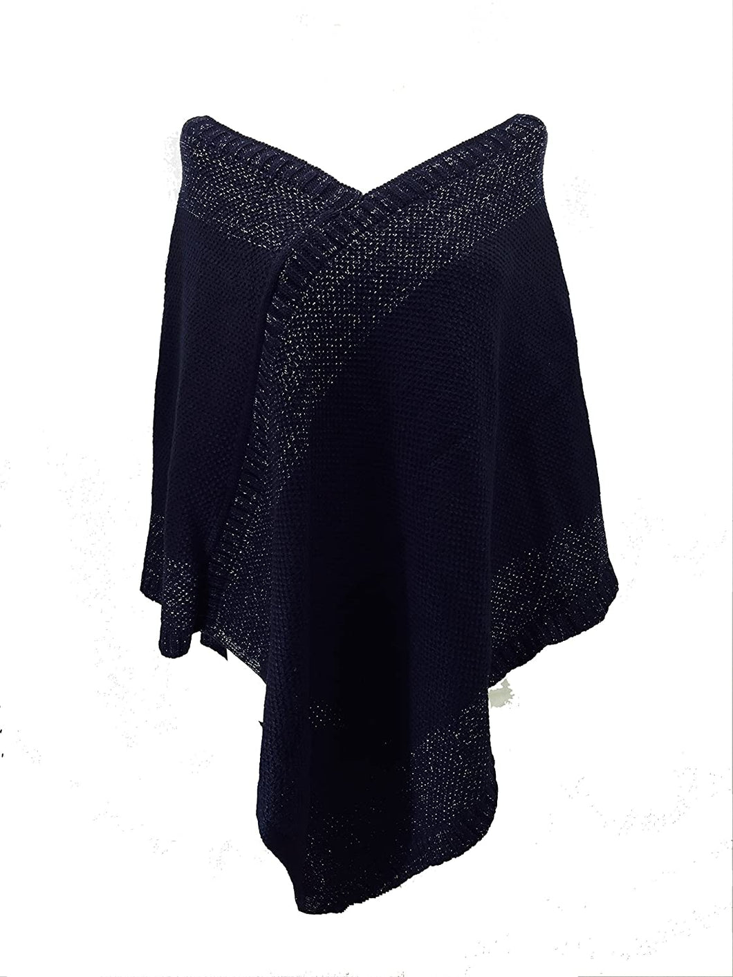 Pamper Yourself Now Navy Blue with Silver Thread V Neck Poncho