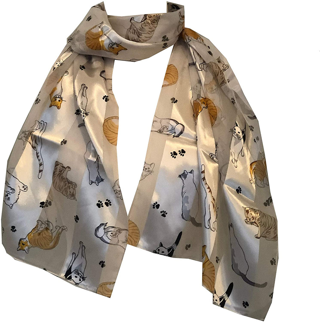 Ladies shiny cat scarf with multi-coloured cats thin scarf, Great gift for cat lovers.