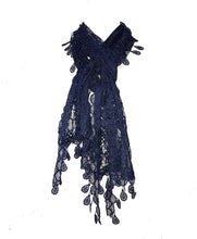 Load image into Gallery viewer, Pamper yourself Navy Leaf Lace Scarf