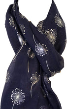 Load image into Gallery viewer, Pamper Yourself Now Navy Blue with Silver Dandelion Design Long Scarf