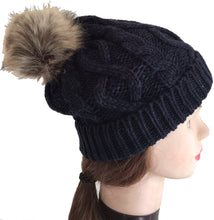 Load image into Gallery viewer, Pamper Yourself Now Navy Womens Winter Rib Knitted hat/Beanie with Fake Fur Bobble pom pom