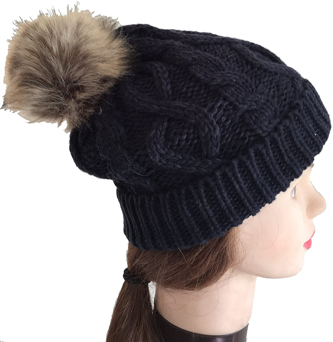 Pamper Yourself Now Navy Womens Winter Rib Knitted hat/Beanie with Fake Fur Bobble pom pom