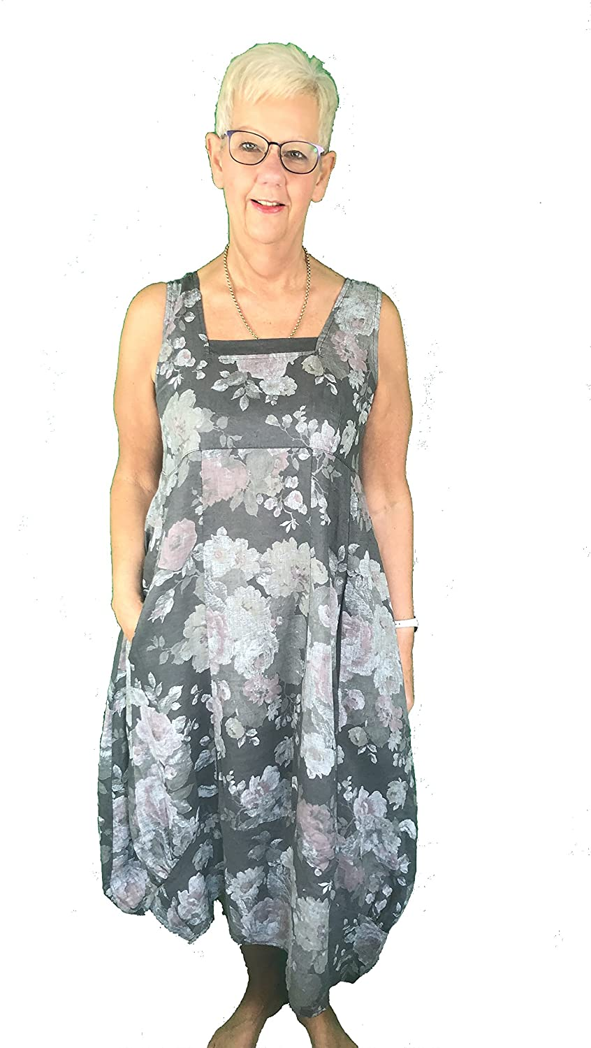Pamper Yourself Now ltd Dark Grey Long Empire line Floral Dress with Square Neck and Two Front Pockets 100% Linen. One Size Recommended Fits Size 12-18 Made in Italy (AA65)