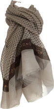 Load image into Gallery viewer, Pamper Yourself Now Light Brown Scarf with Dark Brown Spotty Scarves with Borders, Long, Soft, Pretty Scarf/Wrap
