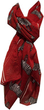Load image into Gallery viewer, Pamper Yourself Now Deep Red Zebra Animal Print Large long Scarf Soft