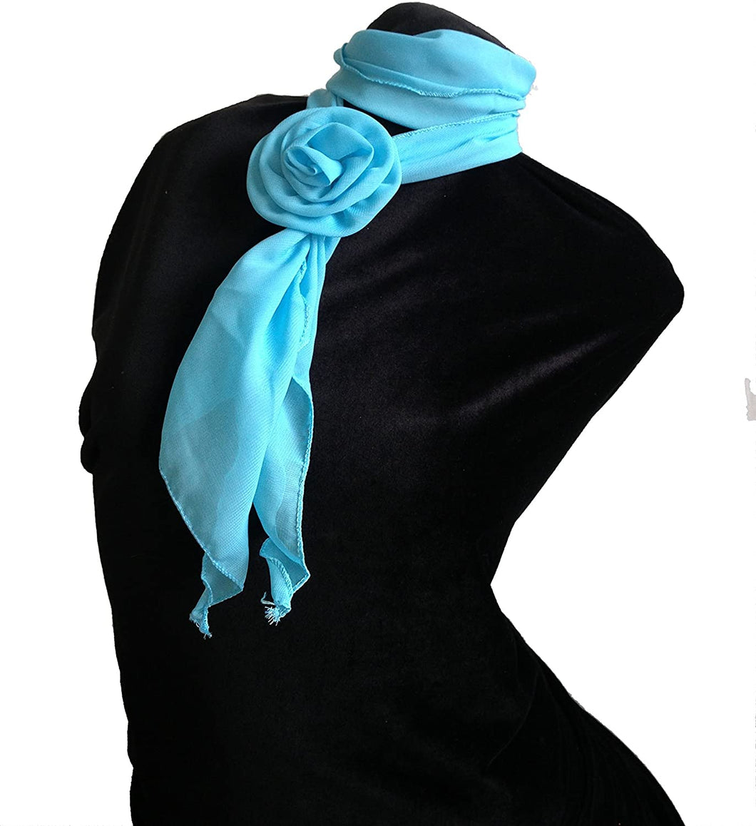 Pamper Yourself Now Plain Light Blue Small Scarf with Clip