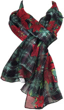 Load image into Gallery viewer, Pamper Yourself Now Black with red and Green Poinsettia Flower Design Scarf Thin Pretty Christmas Scarf