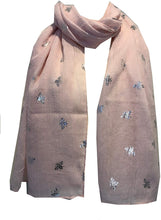 Load image into Gallery viewer, Pamper Yourself Now Baby Pink with Silver Bumble Bees Long Scarf. Great Present/Gift for bee Lovers.