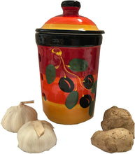Load image into Gallery viewer, Mediterranean red Design garlic keeper pot (23)