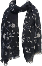 Load image into Gallery viewer, Pamper Yourself Now Navy with White Embroidered Flowers and Leaf Design Long Scarf/wrap with Frayed Edge