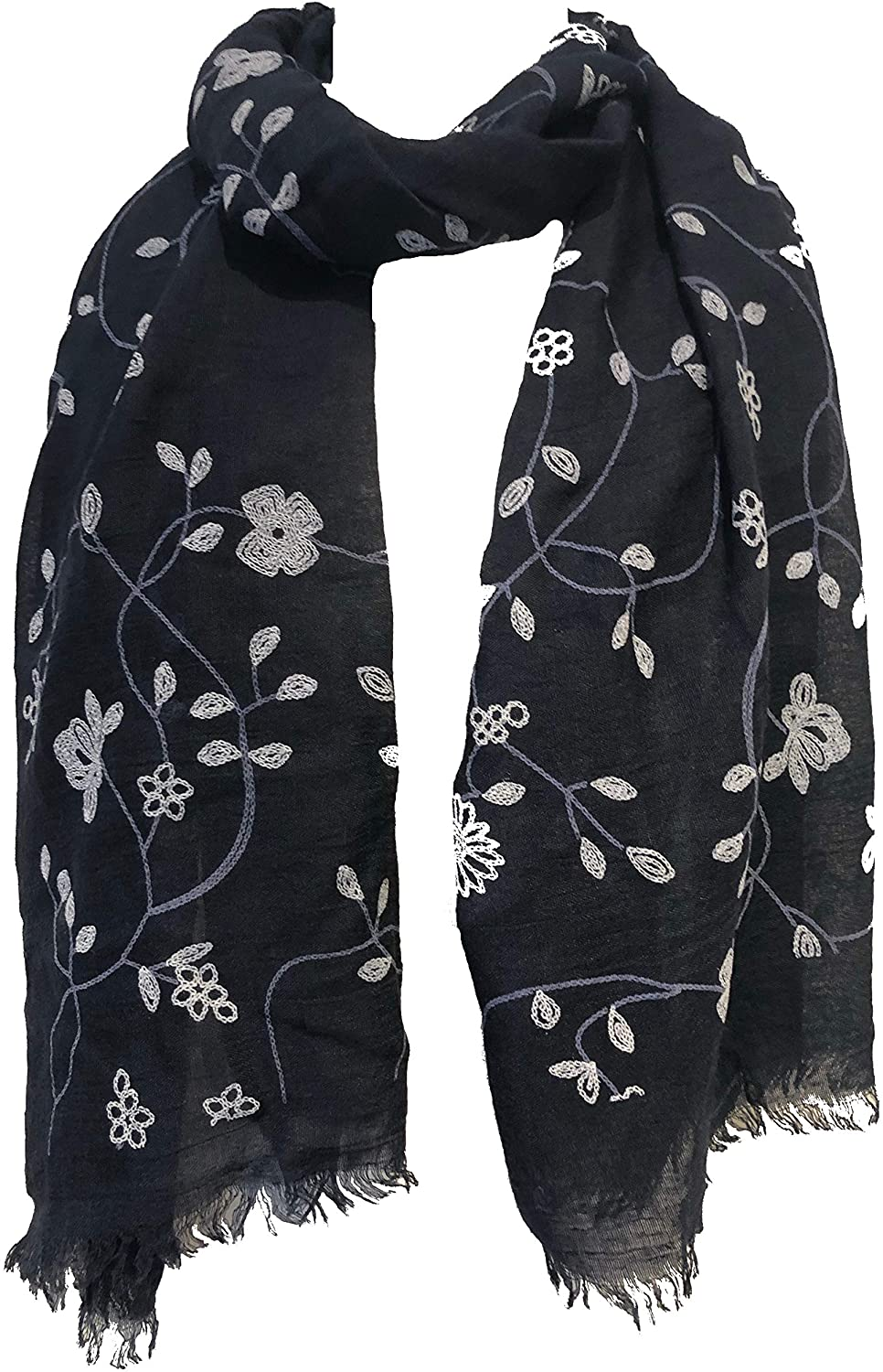 Pamper Yourself Now Navy with White Embroidered Flowers and Leaf Design Long Scarf/wrap with Frayed Edge