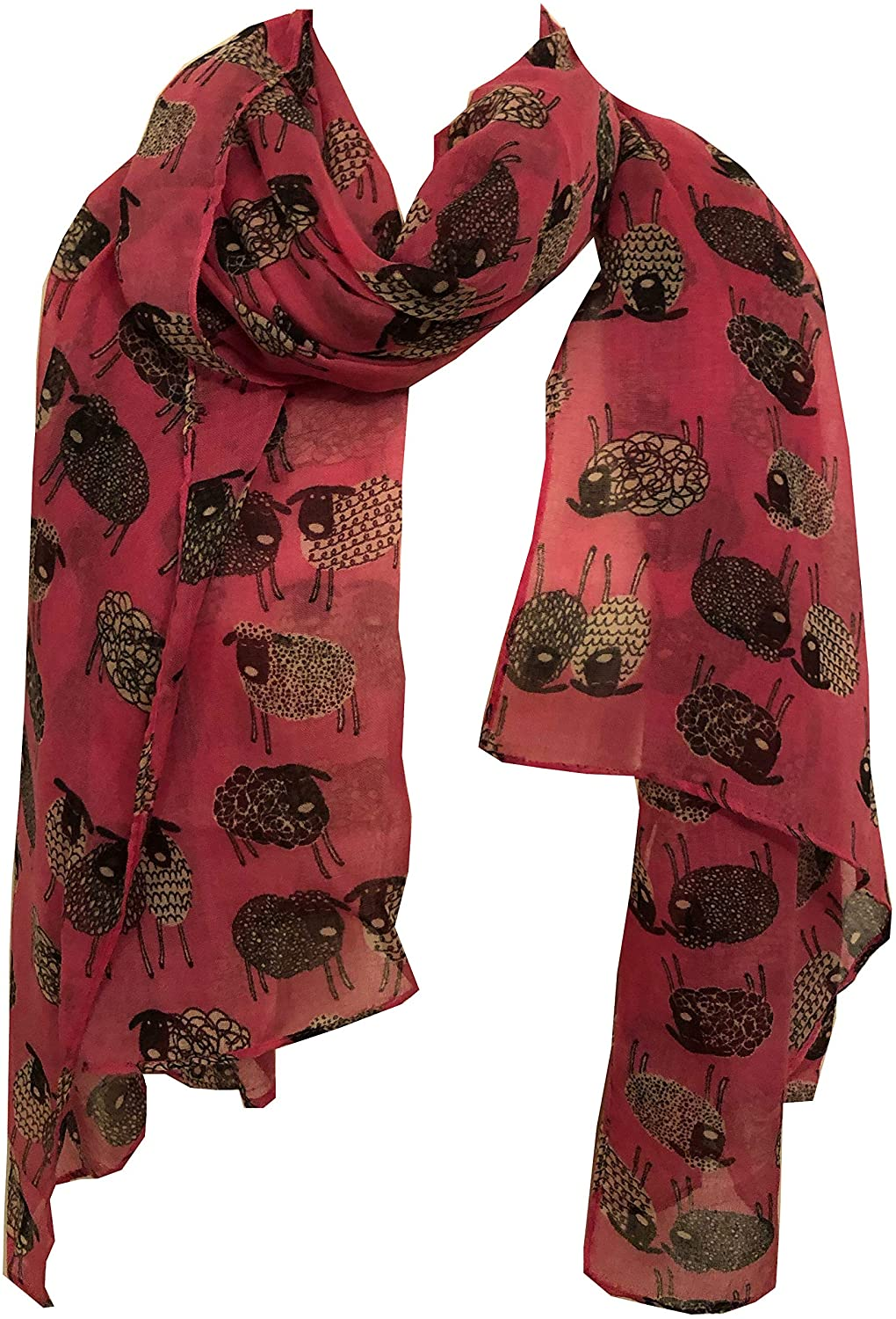 Pamper Yourself Now Pink Sketched Sheep Design Long Scarf