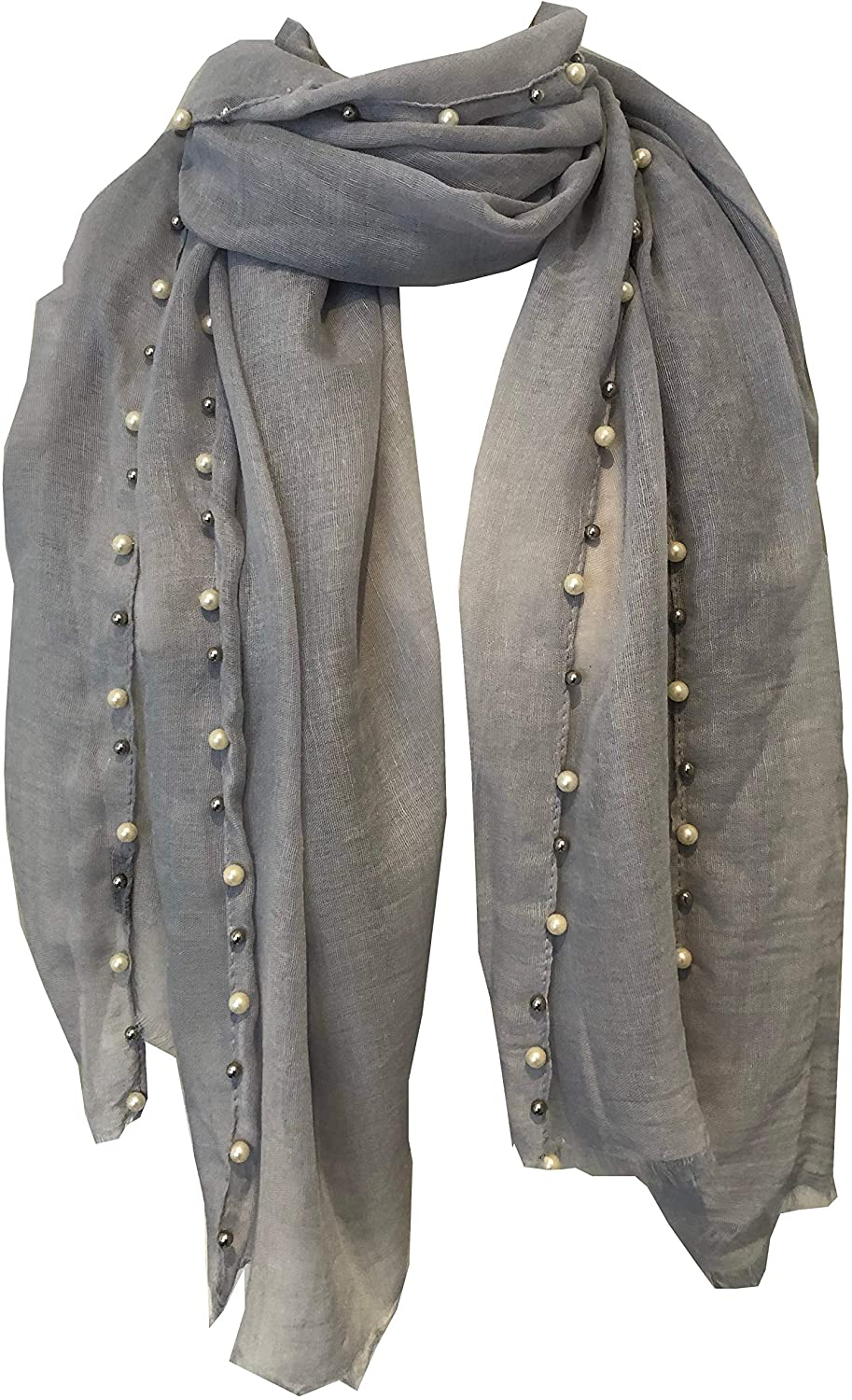 Pamper Yourself Now Grey with Beads and Pearls with Frayed Edge Long Soft Scarf/wrap