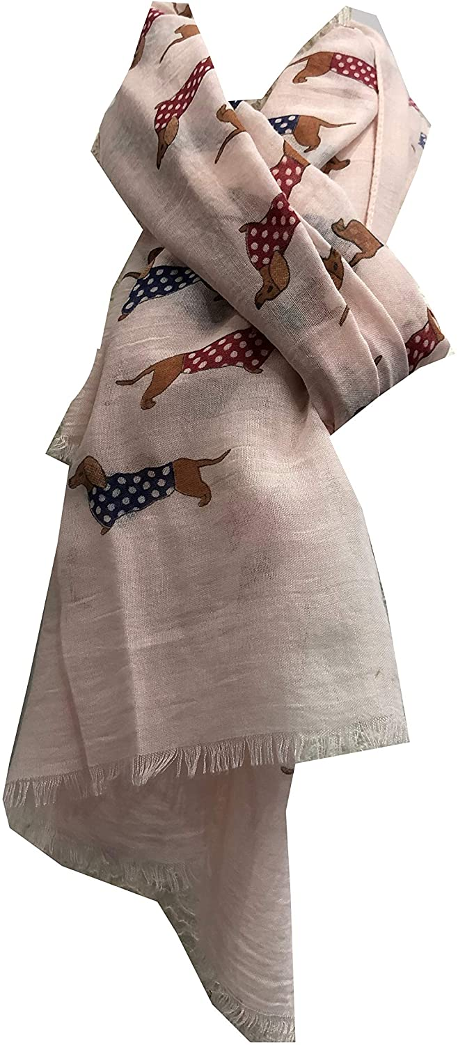 Pamper Yourself Now Pink Sausage Dog with Spotty Coat Long Scarf with Frayed Edge