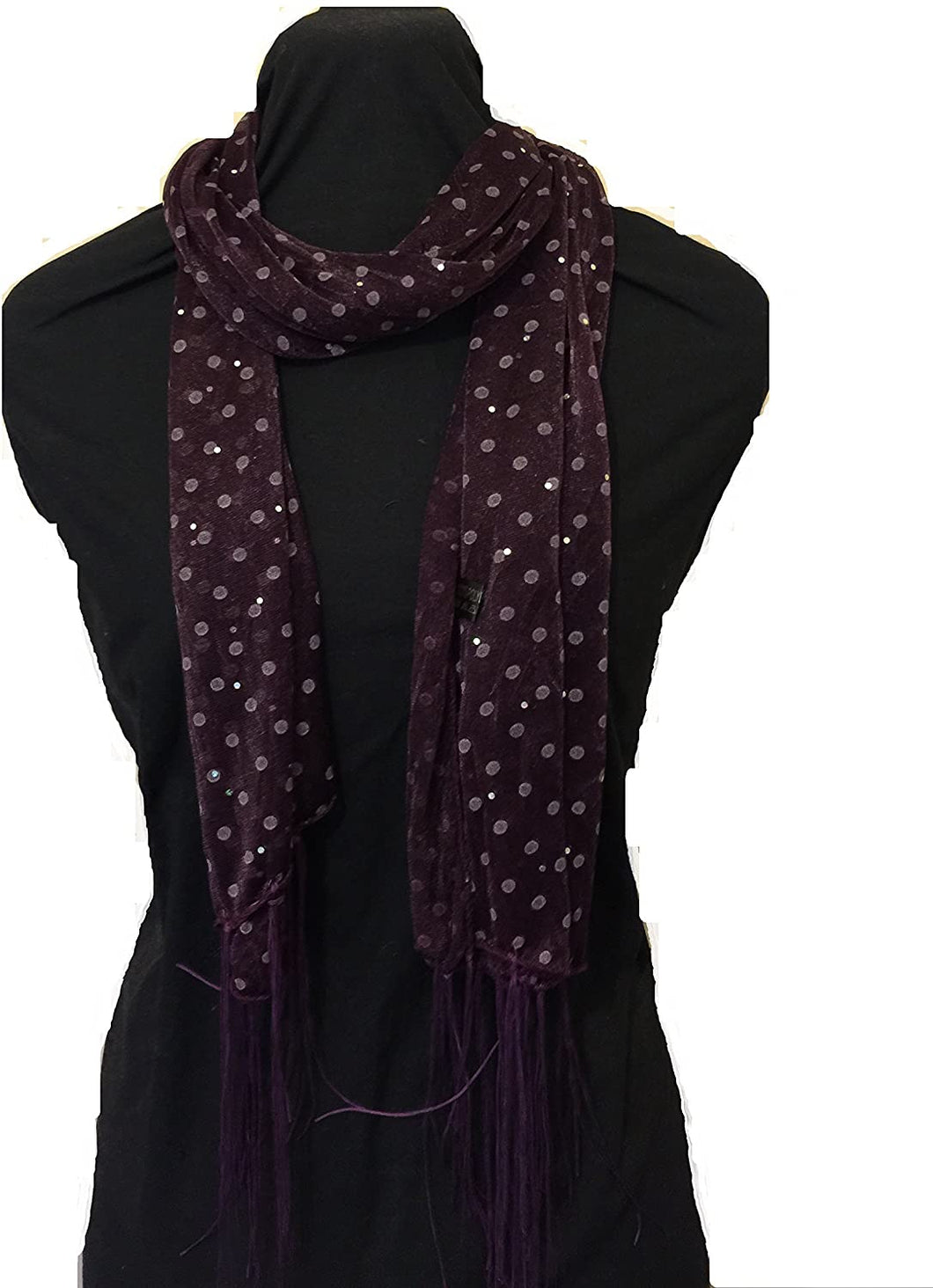 Pamper Yourself Now Purple Spotty Print Long Thin Shiny Scarf with Pretty Sparkle Lovely for Evening wear