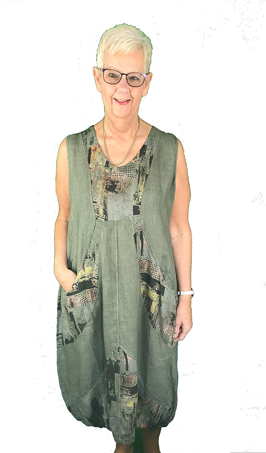 Pamper Yourself Now ltd Green V Neck Balloon Bottom Dress with Multi Coloured Panels with Two Front Pockets 100% Linen. One Size Recommended Fits Size 12-20 Made in Italy (AA66)