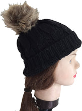 Load image into Gallery viewer, Pamper Yourself Now Black Womens Winter Rib Knitted hat/Beanie with Fake Fur Bobble pom pom