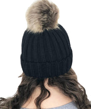 Load image into Gallery viewer, Pamper Yourself Now Black hat/Beanie with detatchable Fake Fur Bobble pom pom