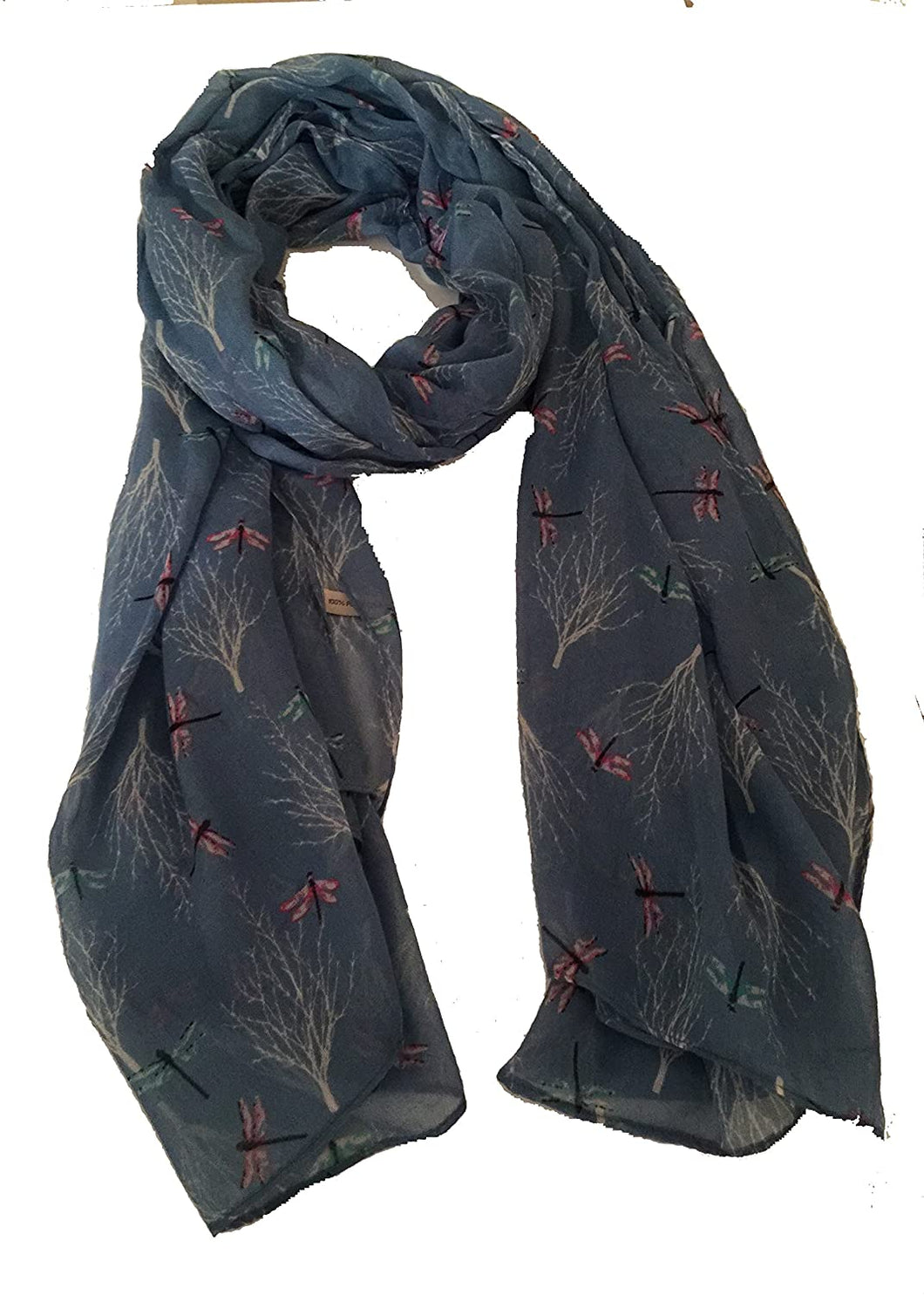 Pamper Yourself Now Blue Dragonfly Daydream Design Soft Long Scarf/wrap