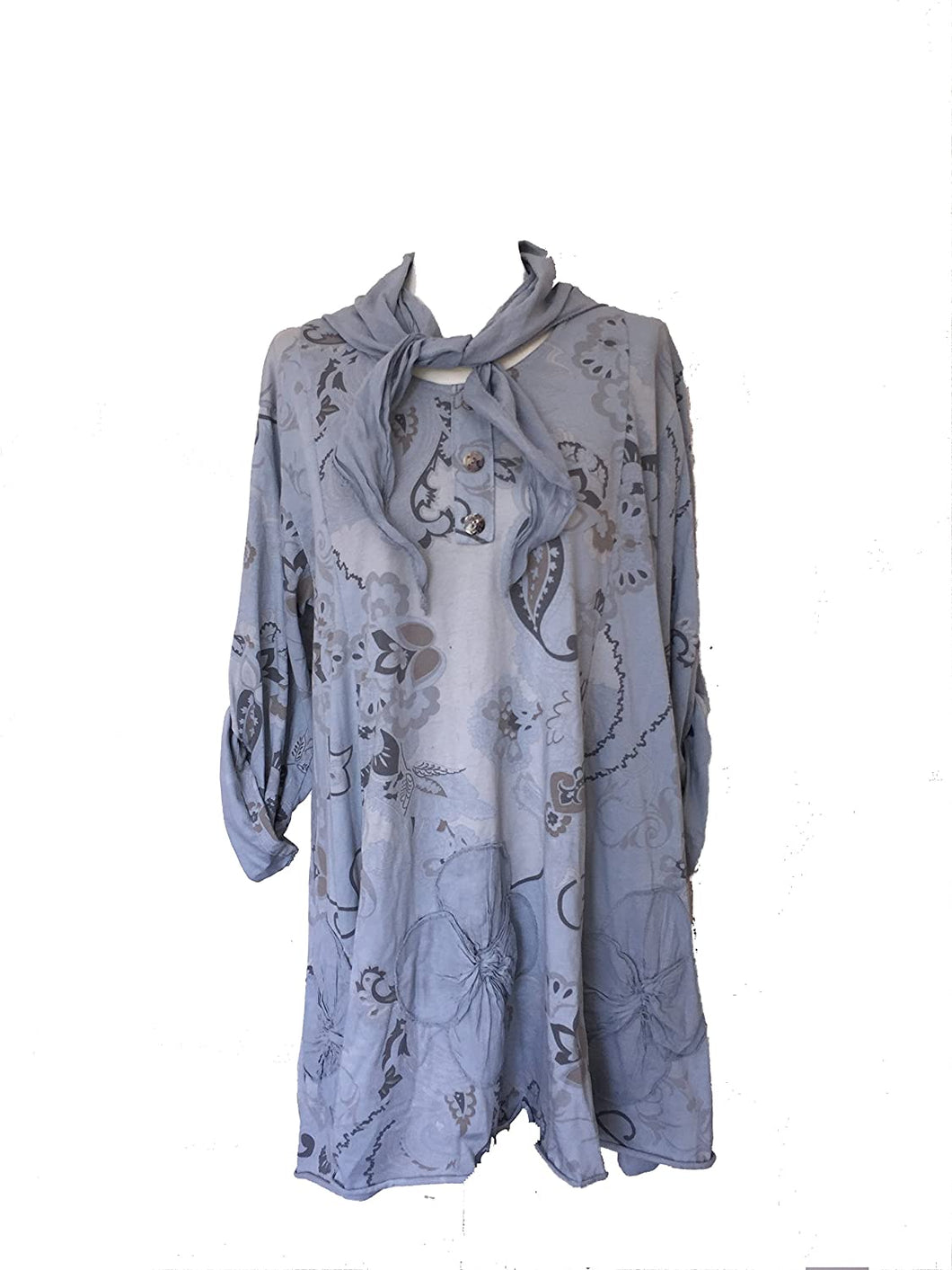 Pamper Yourself Now ltd Ladies Tunic with Funky Flower Design with 3 Quarter Length Sleeves, with a Small Neck Scarf. 97% Cotton Made in Italy (AA27)