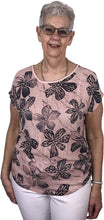 Load image into Gallery viewer, Pamper Yourself Now ltd Pink with Big Blue Flower 100% Cotton T Shirt. one Size Recommended Fits Size 10-16 Made in Italy (AA54)