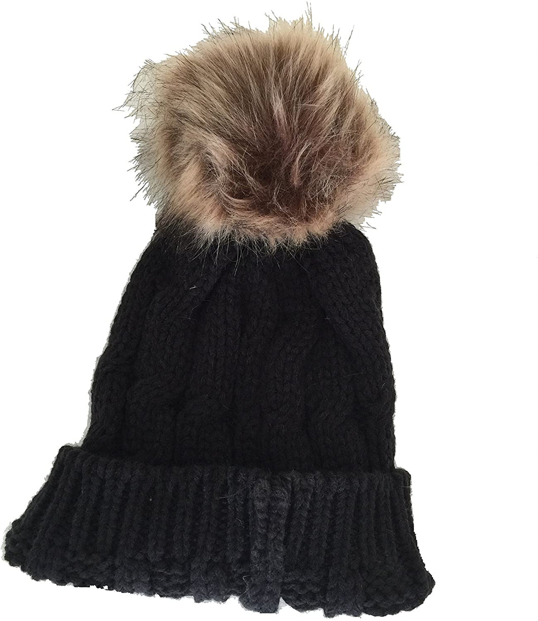 Pamper Yourself Now Black Womens Winter Rib Knitted hat/Beanie with Fake Fur Bobble pom pom