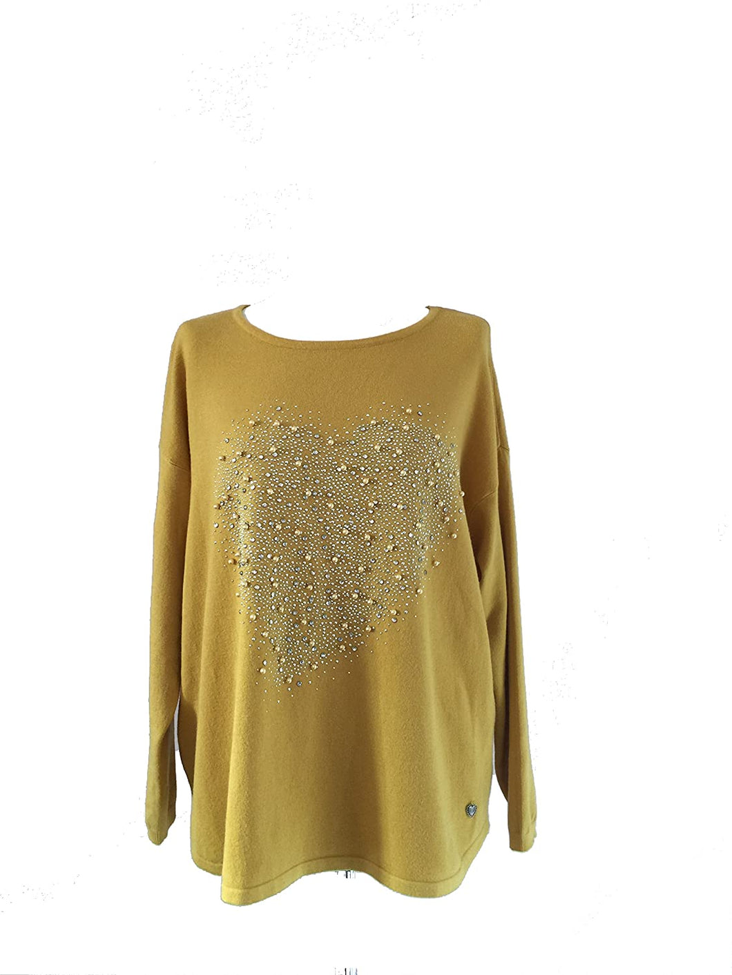 Pamper Yourself Now ltd Mustard Super Soft Jumper with Diamante and Pearl Heart. Made in Italy (AA34)