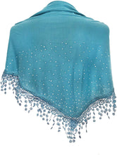 Load image into Gallery viewer, Pamper Yourself Now Teal Jersey with Sparkle and lace Trimmed Triangle Scarf Soft Summer Fashion London Fashion Fab Gift